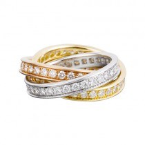trinity de Cartier 3-gold ring 3 rings covered diamond B4075100 replica