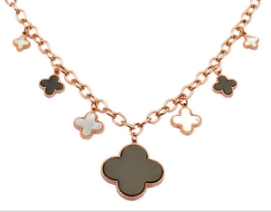 Van Cleef & Arpels Alhambra pink gold six clover necklace