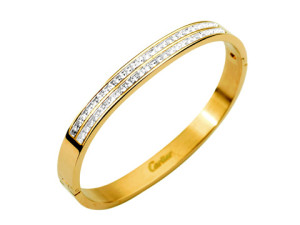 Cartier with double diamond bangle in yellow gold