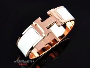 Hermes Clic H Wide Bracelet, White Enamel, 18kt Pink Gold