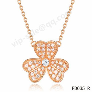 van cleef & arpels floral necklace in pink gold sell in anychic.com jewelry mall
