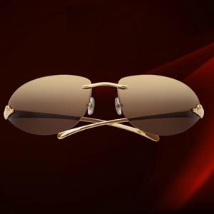 Cartier Panthere De Cartier Golden Finish Metal Brown Lenses Rimless Sunglasses