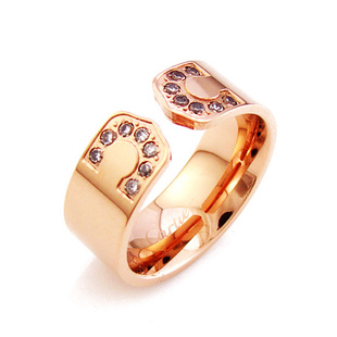 Cartier 14K Rose Gold Plated  Decor Ring with Diamond