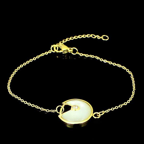 Amulette de Cartier bracelet Replica XS model Yellow gold  diamond  white/black mother-of-pearl