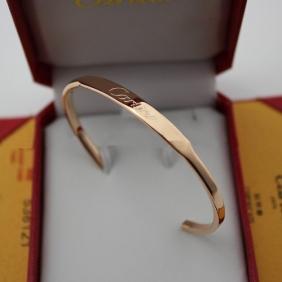 Imitation Cartier collection logo bracelet pink gold open bangle