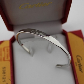 Knockoff Cartier collection logo bracelet white gold open bangle