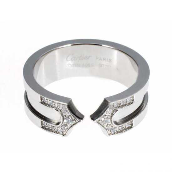 Cartier 14K White Gold Plated Double C Decor Ring with Diamond