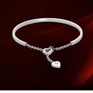Cartier 18k White Gold Heart Decor Chain Bracelet with Diamonds