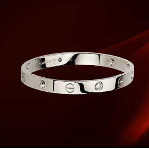 Cartier Love Bracelet mens White Gold with 4 Diamonds 20cm