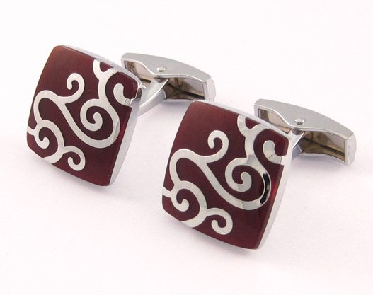 Black retro silver carved cufflinks