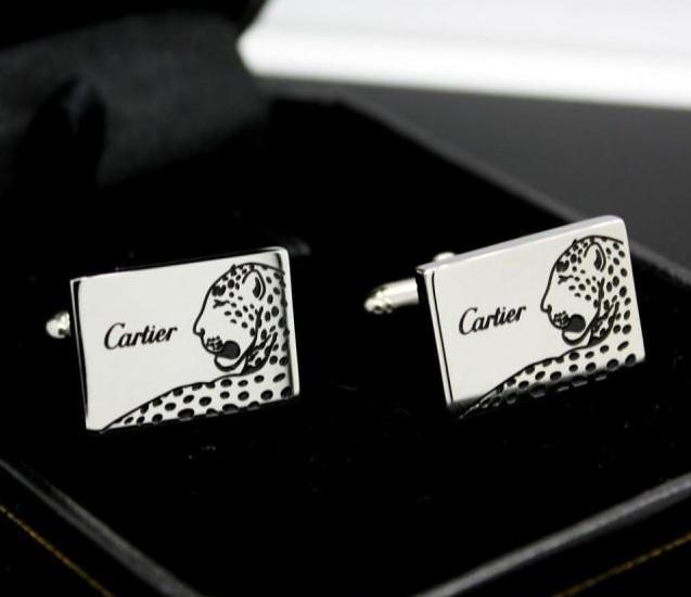 Cartier leopard text pattern cufflinks