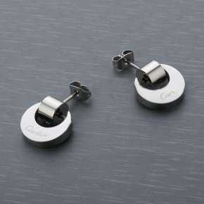 Cartier Earring in Stainless Steel with White Gold Plated and Di