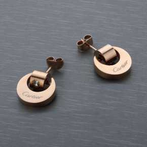 Cartier Earrings in Stainless Steel with Rose Gold Plated and Di