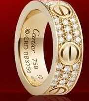 Cartier Leve Ring in Rose Gold Plated with Diamonds-Large Width