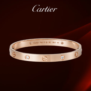 Cartier 1:1 Grade Love Bracelet in Rose Gold white Diamonds+Original Bracelet box