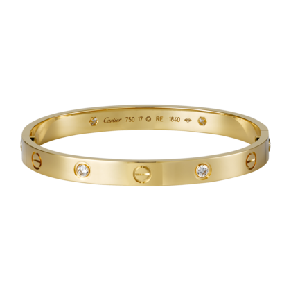 Cartier 1:1 Grade Cartier Love Bracelet in Yellow Gold Plated with Diamonds+Original Bracelet box