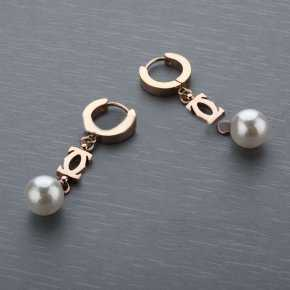 Cartier Pearl Earing with Rose Gold Plated Double C