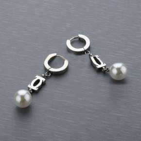 Cartier Pearl Earing with white Gold Plated Double C