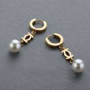 Cartier Pearl Earing with Yellow Gold Plated Double C