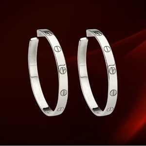 Cartier White Gold Love Motif Hoop Earrings