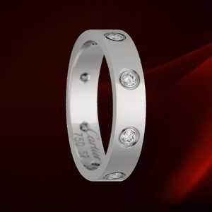 Cartier White Gold Love Ring with 8 Diamonds