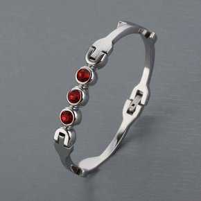 Cartier White Gold Plated Bracelet with Ruby Stones