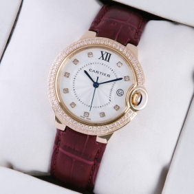 Ballon Bleu de Cartier Diamond Rose Gold Brown Leather Diamonds Markers Unisex Watches fake
