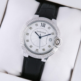 Ballon Bleu de Cartier Diamond Stainless Steel Black Leather Diamonds Markers Unisex Watches