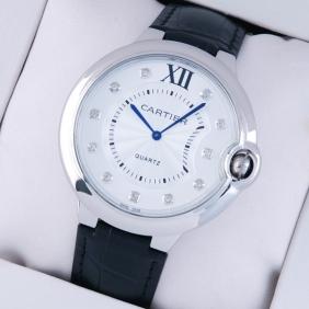 Ballon Bleu de Cartier Extra Large Stainless Steel Black Leather Diamond Mens Watches