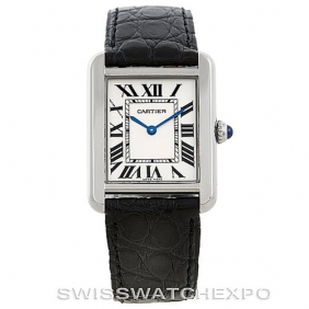 Fashion Classic Black Leather Strap Ladies Tank Solo Cartier Watch Replica