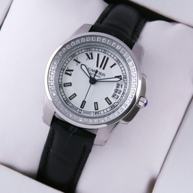 Calibre de Cartier Diamonds White Dial Black Leather Strap Ladies Watches replica