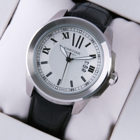 Calibre de Cartier White Dial Black Leather Strap Mens Watches fake
