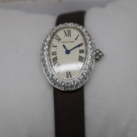 Cartier Baignoire Diamonds Stainless Steel Stones Bezel Beige Swiss Quartz Ladies replica Watches