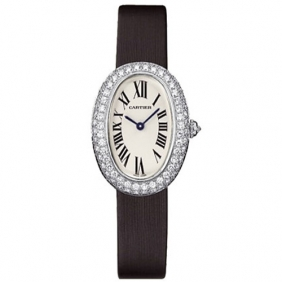 Cheap sale Ladies Cartier Baignoire Mini Quartz Diamond Leather Strap Watch Online Sale