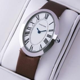 Cartier Baignoire Stainless Steel Coffee Satin Strap Unisex Watches