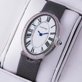 Cartier Baignoire Stainless Steel Grey Satin Strap Diamond Unisex Watches
