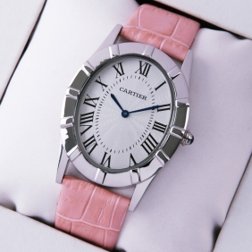 Cartier Baignoire Stainless Steel Pink Leather Strap Large Unisex Watch replica