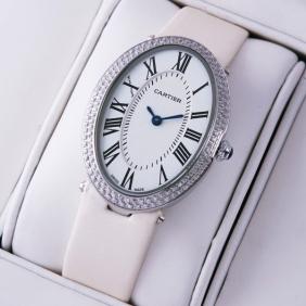 Cartier Baignoire Stainless Steel White Satin Strap Unisex Diamond Watches fake