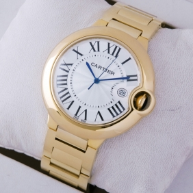 Cartier Ballon Bleu de Cartier Large Silver Dial 18kt Yellow Gold Mens Watches replica
