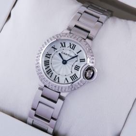 Cartier Ballon Bleu de Cartier Two Rows Diamonds Bezel Steel Ladies Watches fake