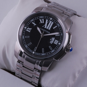 Cartier Calibre de Cartier Black Dial Stainless Steel Mens Watches imitation
