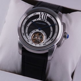 Cartier Calibre de Cartier Flying Tourbillon Black Dial Black Leather Strap Steel Mens Watches