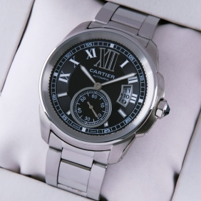 Cartier Calibre de Cartier Stainless Steel Black Dial Automatic Mens Watch W7100016
