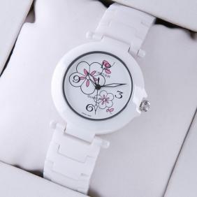 Cartier Pasha de Cartier Medium White Ceramic White Flowers Dial Unisex Watches