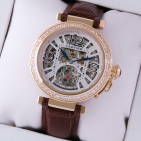 Cartier Pasha de Cartier Yellow Gold Skeleton Diamonds Brown Leather Mens Watches