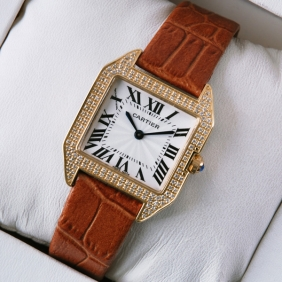 Cartier Santos Dumont Diamonds 18K Rose Gold Brown Leather Strap Ladies Watches replica