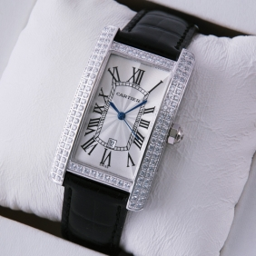 Cartier Tank Americaine Stainless Steel Black Leather Band Diamonds Mens Watches