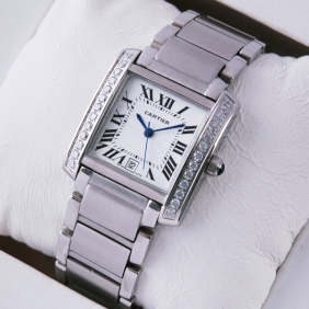 Cartier Tank Francaise Single Row Diamonds Steel Mens Watches replica
