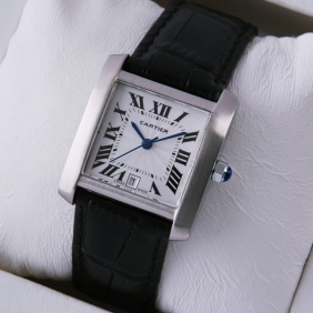 Cartier Tank Francaise Stainless Steel Black Leather Band Mens Watches imitation