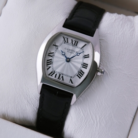 Cartier Tortue Black Leather Strap Stainless Steel Small Ladies Watches replica